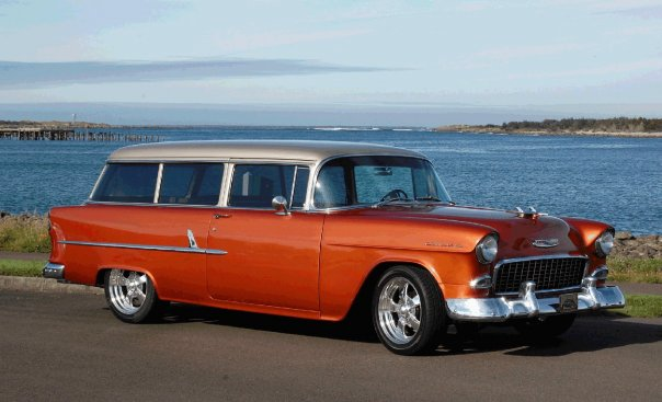 The Holston's 1954 Chevy Wagon will make a matched set with the Beach Cruiser.