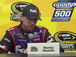 At the post race press conference after the Martinsville Chase Race, Denny Hamlin complains that Jimmie raced him too hard. Images from screen captures.