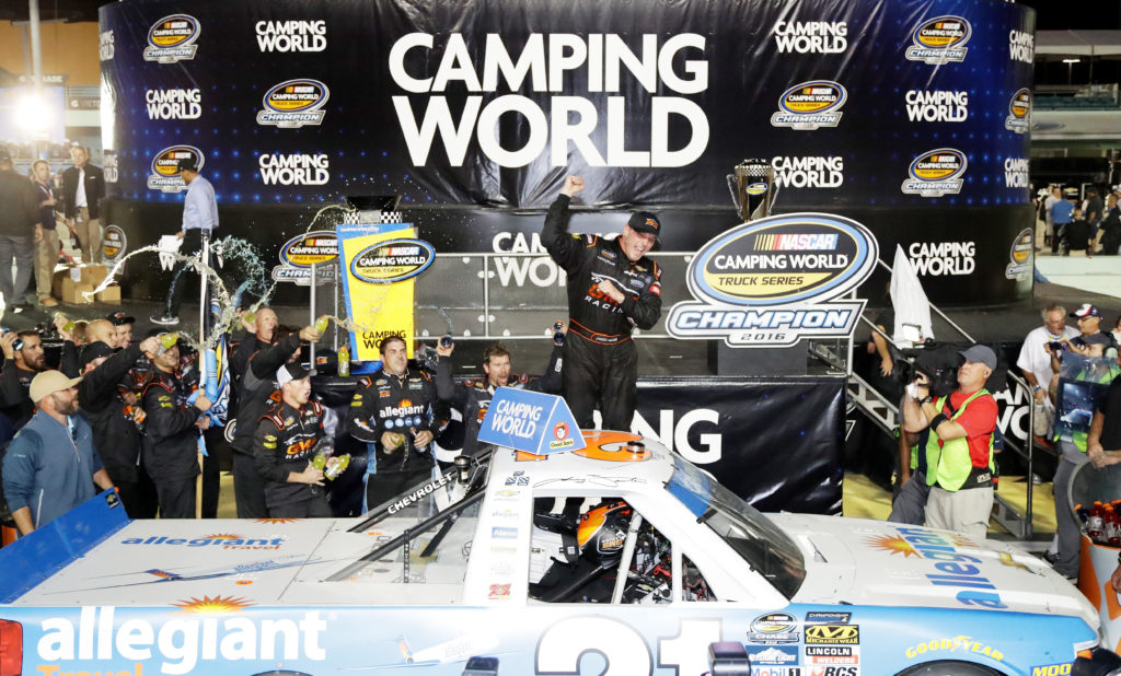 Johnny Sauter celebrates in Victory Lane.  (Photo by Sean Gardner/NASCAR via Getty Images)
