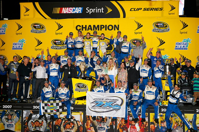 Jimmie Johnson and the whole Hendrick Motorsports #48 team celebrate his seventh Sprint Cup Championship.
