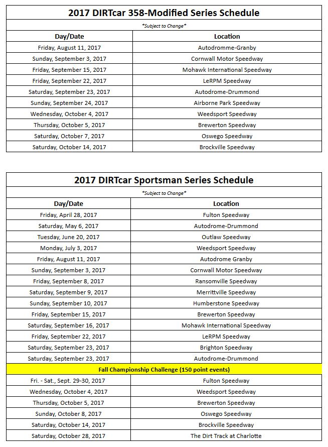 2017 DIRTcar Schedule Announced