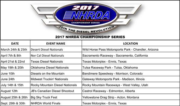 NHRDA Announces 2017 Schedule