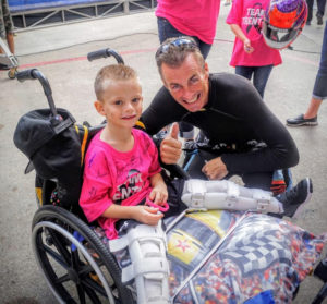 Dallas recipient, Trenton Tyer with Top Fuel Driver and Shirley's Kids supporter, Clay Millican