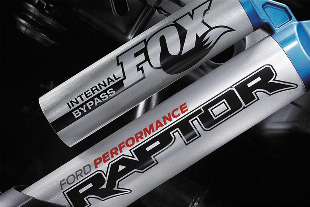 The Raptor gets some of its capability from custom-made internal bypass shocks made by Fox specially for Ford Performance. Image courtesy barrett-jackson.com