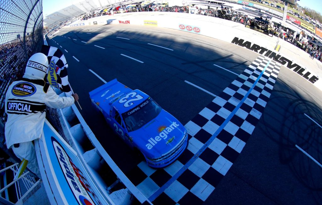 Chase Elliott, driver of the #23 Allegiant Airlines/NAPA Chevrolet, wins the NASCAR Camping World Truck Series Alpha Energy Solutions 250 at Martinsville Speedway on April 1, 2017 in Martinsville, Virginia.  (Photo by Sean Gardner/Getty Images)