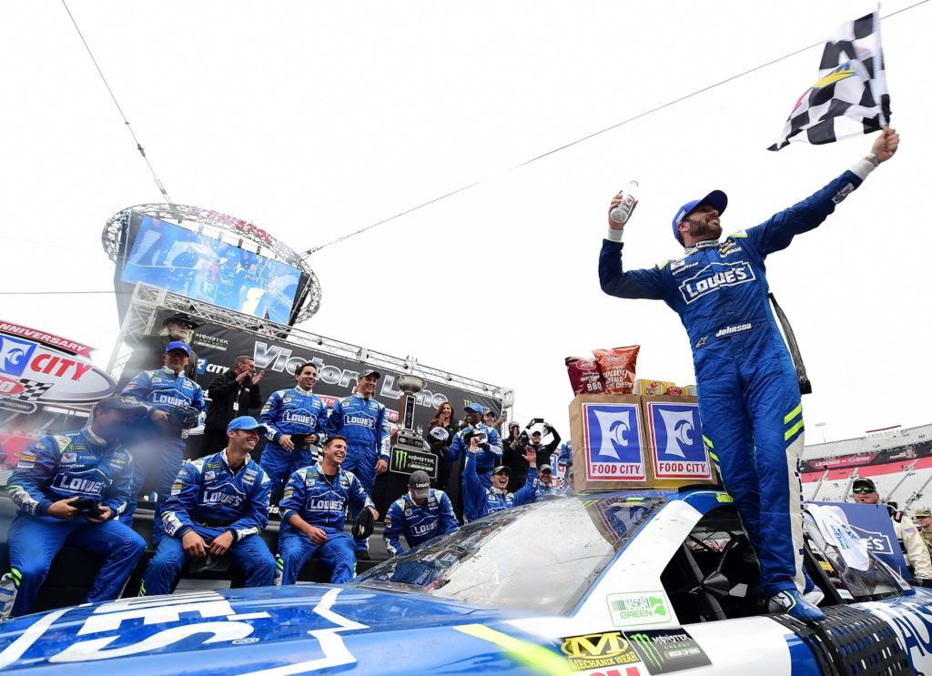BRISTOL, TN - APRIL 24: Jimmie Johnson, driver of the #48 Lowe's Chevrolet, celebrates in Victory Lane after winning the Monster Energy NASCAR Cup Series Food City 500 at Bristol Motor Speedway on April 24, 2017 in Bristol, Tennessee. (Photo by Jared C. Tilton/Getty Images)