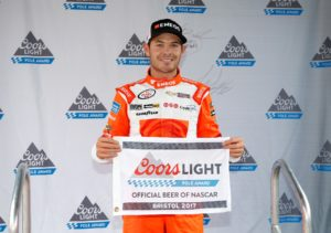 BRISTOL, TN - APRIL 22: Kyle Larson, driver of the #42 ENEOS Chevrolet, poses with the Coors Light Pole Award for the NASCAR XFINITY Series Fitzgerald Glider Kits 300 at Bristol Motor Speedway on April 22, 2017 in Bristol, Tennessee. (Photo by Matt Sullivan/Getty Images)
