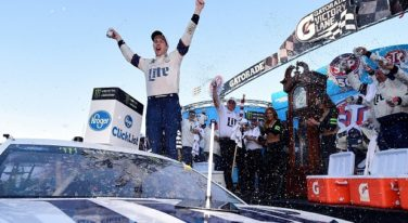 MARTINSVILLE, VA - APRIL 02:  Brad Keselowski, driver of the #2 Miller Lite Ford, celebrates in Victory Lane after winning the Monster Energy NASCAR Cup Series STP 500 at Martinsville Speedway on April 2, 2017 in Martinsville, Virginia.  (Photo by Jared C. Tilton/Getty Images)