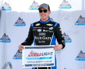 RICHMOND, VA - APRIL 29:  Daniel Hemric, driver of the #21 Blue Gate Bank Chevrolet, poses with the Coors Light Pole Award after qualifying for the NASCAR XFINITY Series ToyotaCare 250 at Richmond International Raceway on April 29, 2017 in Richmond, Virginia.  (Photo by Matt Sullivan/Getty Images)