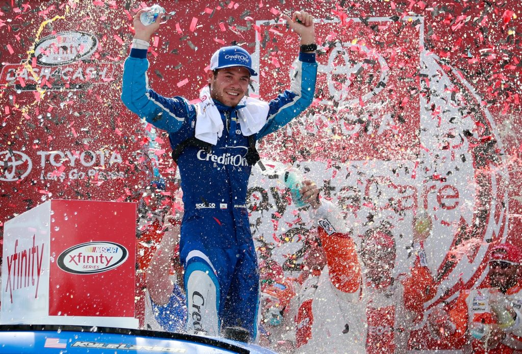 RICHMOND, VA - APRIL 29:  Kyle Larson, driver of the #42 Credit One Bank Chevrolet, celebrates in Victory Lane after winning the NASCAR XFINITY Series ToyotaCare 250 at Richmond International Raceway on April 29, 2017 in Richmond, Virginia.  (Photo by Matt Sullivan/Getty Images)