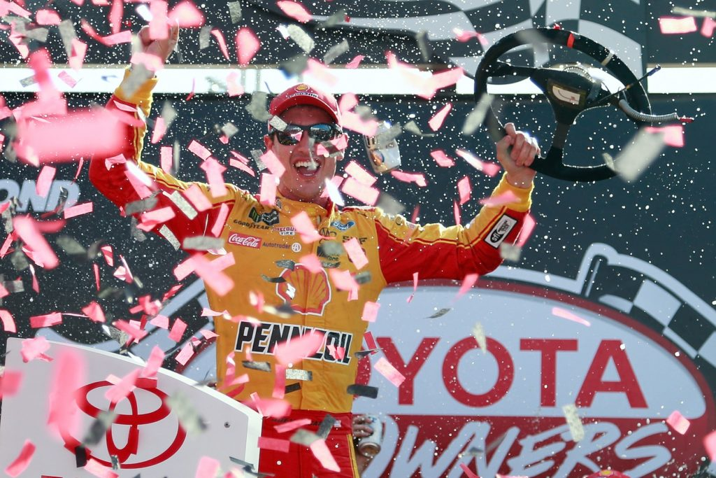 RICHMOND, VA - APRIL 30:  Joey Logano, driver of the #22 Shell Pennzoil Ford, celebrates in Victory Lane after winning the Monster Energy NASCAR Cup Series Toyota Owners 400 at Richmond International Raceway on April 30, 2017 in Richmond, Virginia.  (Photo by Matt Sullivan/Getty Images) *** Local Caption *** Joey Logano