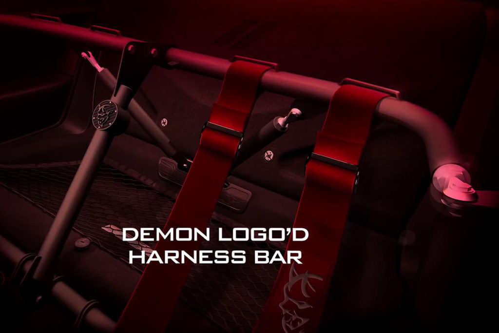The Demon comes from the factory with a race-ready four point harness.