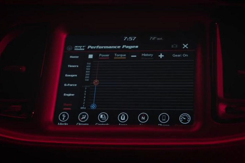 Dodge included a race computer in the tech goodies that make the Demon a monster on the track.