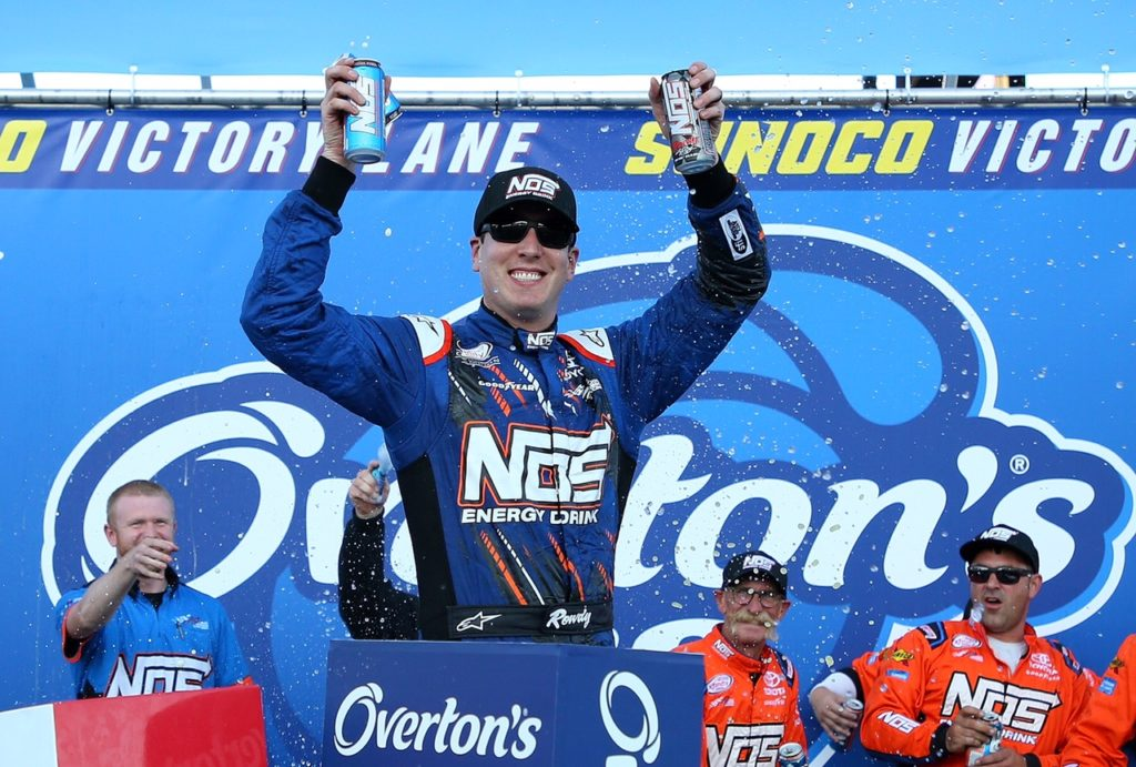 LOUDON, NH - JULY 15: Kyle Busch, driver of the #18 NOS Energy Drink Toyota, celebrates in Victory Lane after winning the NASCAR XFINITY Series Overton's 200 at New Hampshire Motor Speedway on July 15, 2017 in Loudon, New Hampshire. (Photo by Chris Trotman/Getty Images)