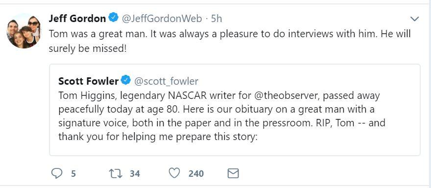 NASCAR Journalist Tom Higgins Dies at the Age of 80