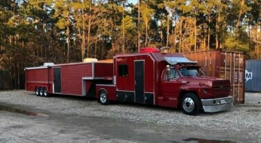 Today's Cool Car Find is this 1990 Ford F800 and 40' Chaparral Trailer for $42,000