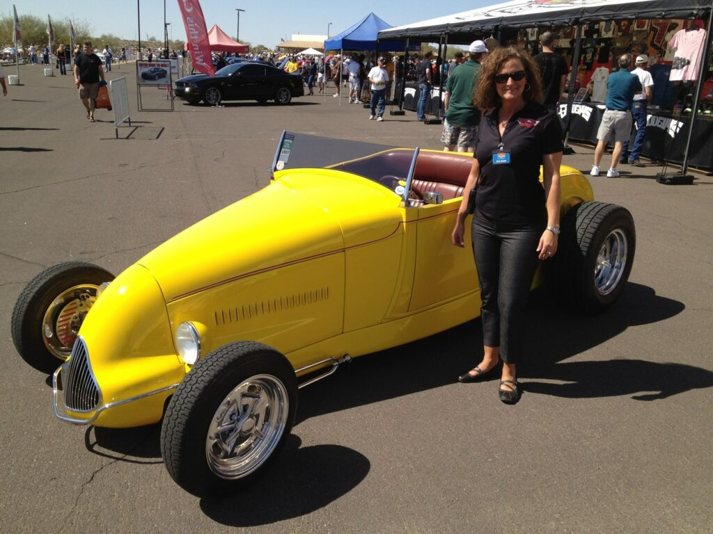 Betsy Bennett with Gary Meadors '32 Ford Roadster