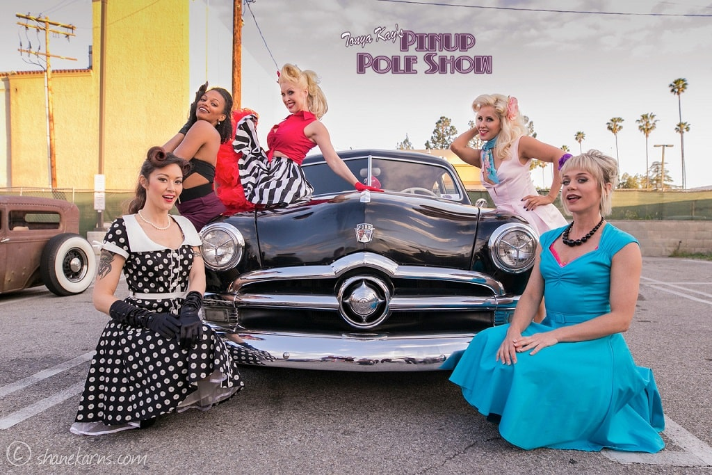 Pinup Pole Show Pinup of the Week: Pinup Pole Show Stars with a 1950 Ford Tudor