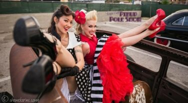 Pinup Pole Show Pinup of the Week: Heather Lou and Monica Kay with a '30 Ford Sedan