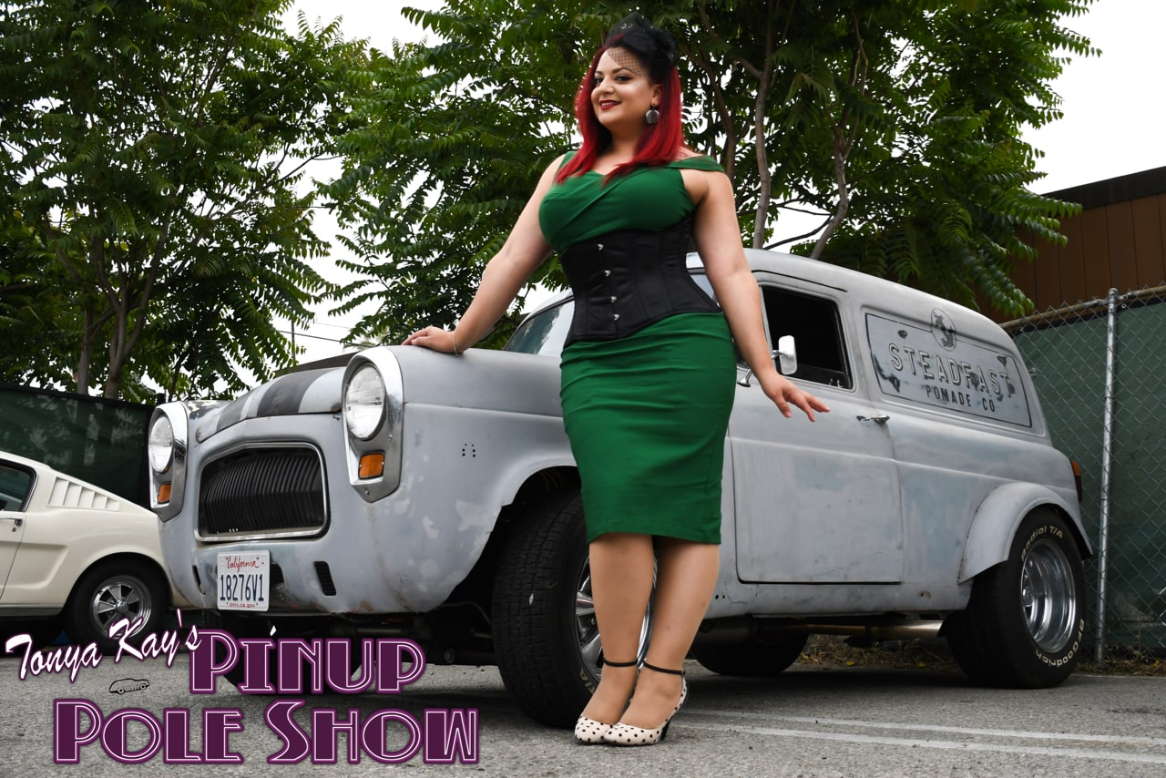 Pinup Pole Show Pinup of the Week: Cherry Rosie with a 1959 Ford U.K. Thames