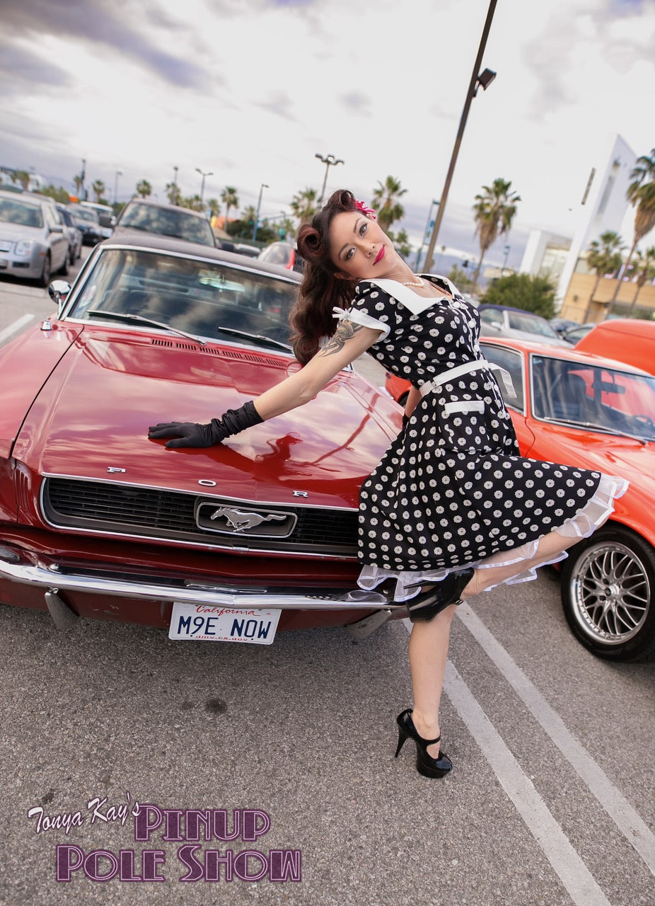 Pinup Pole Show Pinup of the Week: Monica Kay with a Ford Mustang