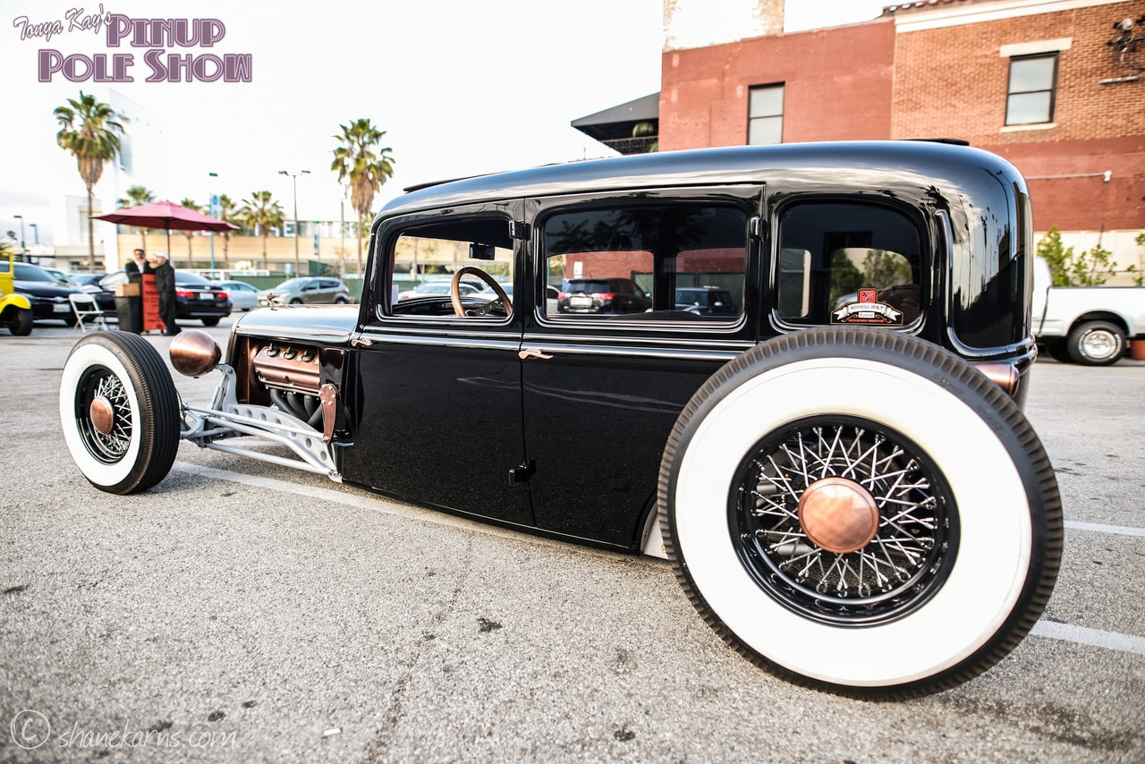 Pinup Pole Show Pinup of the Week: Heather Lou with a 1933 Plymouth Sedan