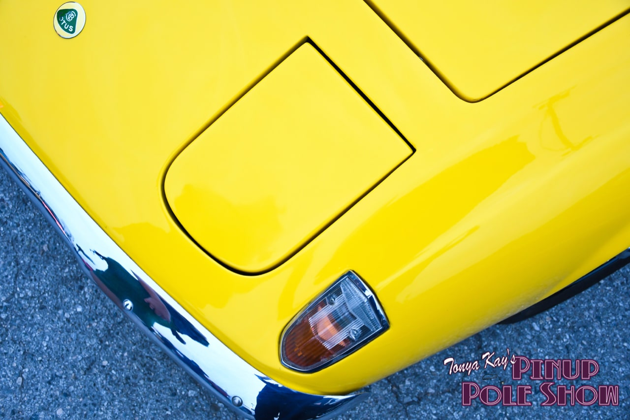 Pinup Pole Show Pinup of the Week: Cherry Rosie with a 1973 Lotus Elan Plus 2