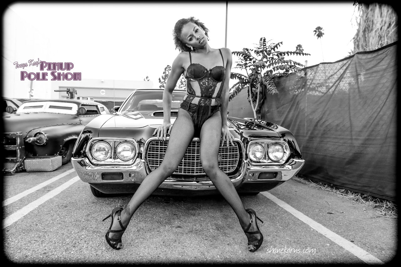 Pinup Pole Show Pinup of the Week: Candace Cane with a 1972 Gran Torino Sport