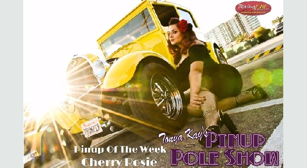 Pinup Pole Show Pinup of the Week: Cherry Rosie with a 1929 Ford Model A