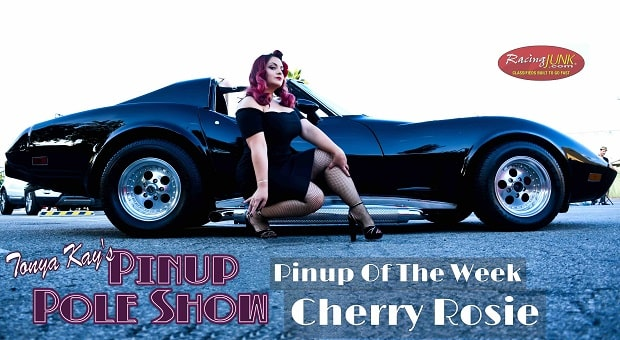 Pinup Pole Show Pinup of the Week: Cherry Rosie with a 1977 Corvette