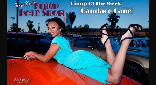 Pinup Pole Show Pinup of the Week: Candace Cane with a 1973 Datsun 240z