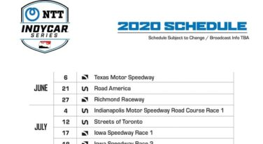 IndyCar Announces Updated 2020 Schedule