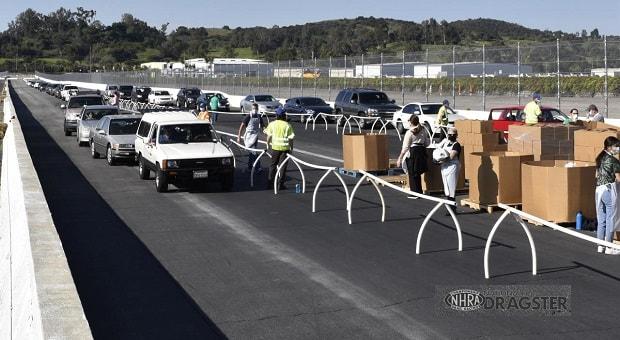 NHRA Utilizes Pomona 1/4 Mile as Drive Through Food Pantry