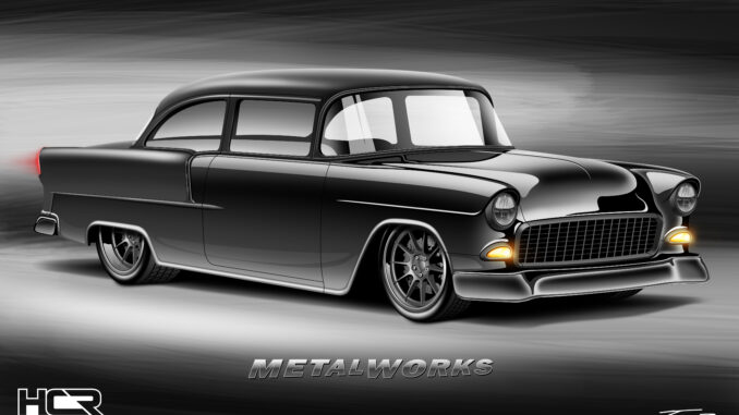 55 chevy, metalworks