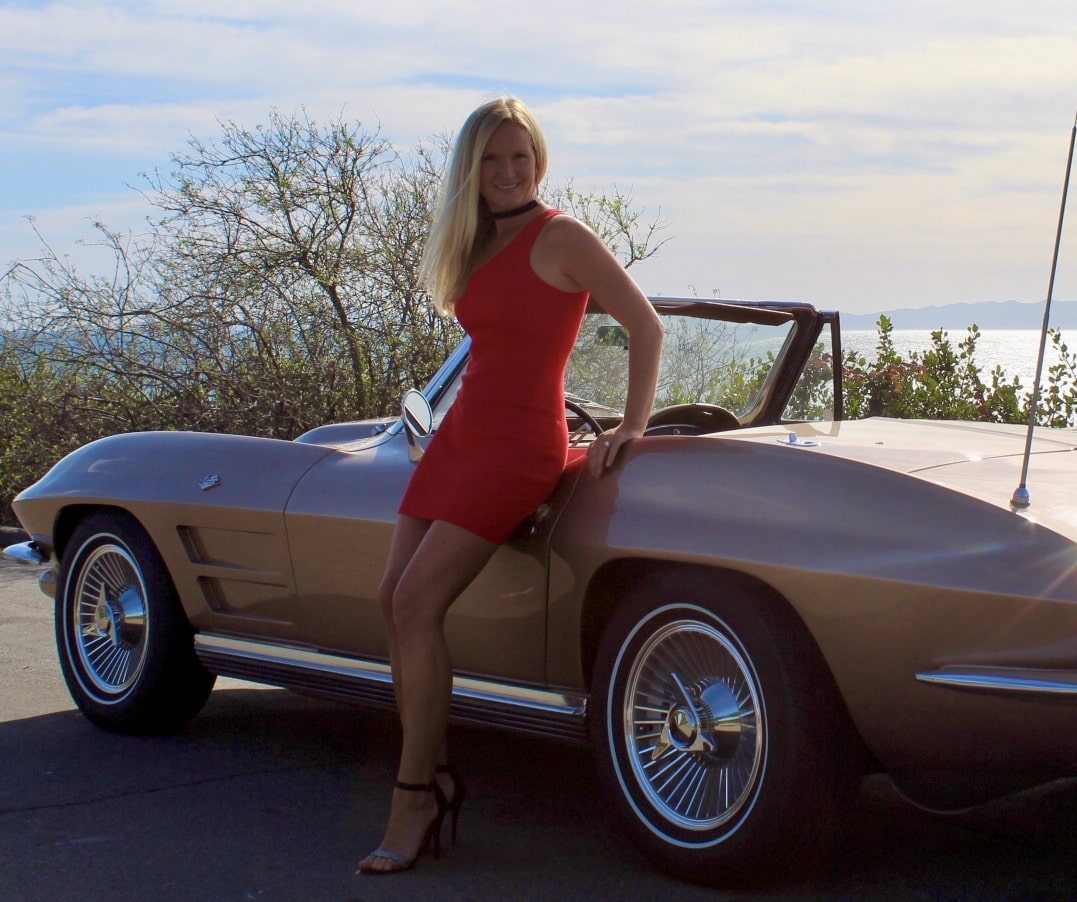 April Reeves with 1964 Corvette