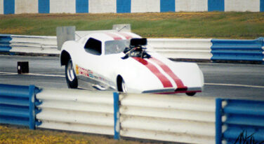 Bob Szabo of Air Density Online on a 200 mph+ run of his blown alcohol funny car during an overcast day - fuel system adjusted for 96% air density.