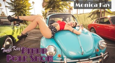 Pinup Pole Show Pinup of the Week:  Monica Kay with Joe Petra's 1973 Volkswagen Super Beetle